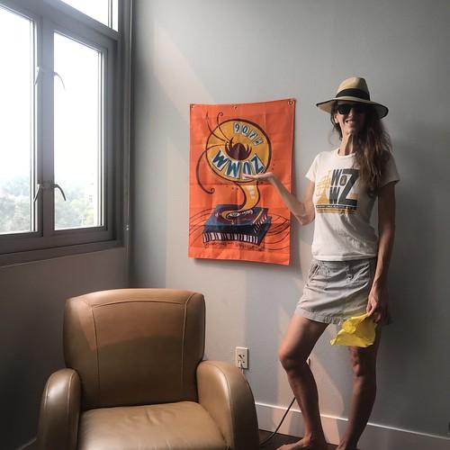 Erin Happily Festing indoors in Smokey Pasadena, Ca