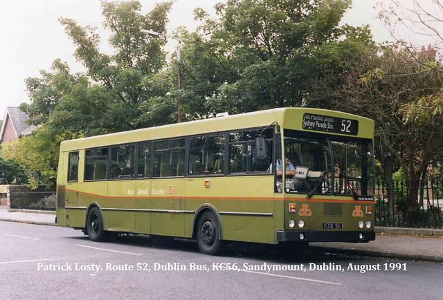 Route 52, Kilmacud to Sandymount, (St. John's Church), Dublin Bus, KC56, August 1991