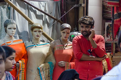 Man and mannequins
