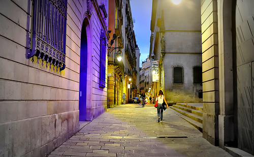 street road people architecture construction building steps walk window windows door decoration passeig light reflections balcony balconies sky cielo color colour colores colours colors dark lamp farol shadow shadows bike bicycle bici bicicleta vehicle night nightview nightshot outside outdoor outdoors