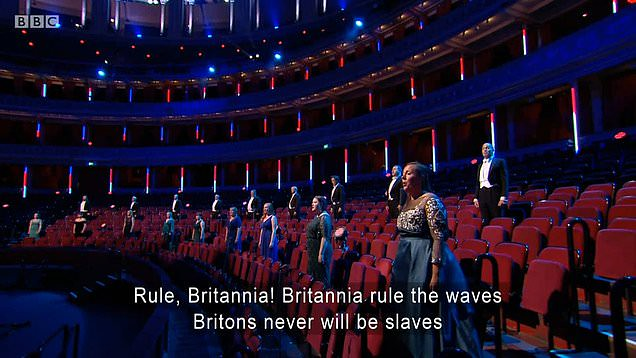 A social distanced choir sings Rule Britannia at the BBC Proms 2020