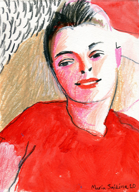Maria Zaikina, Julia in red, mixed media on paper, 2020