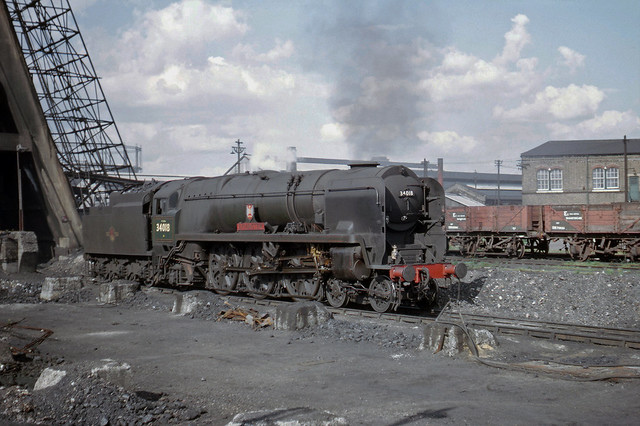 34018 Axminster on the coal road at 70A 06-09-1964