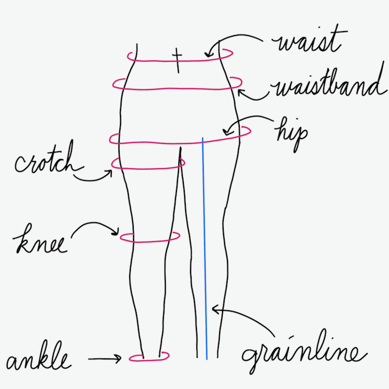 Image showing waist, waistband, hip, crotch, knee, and ankle. The grain line of the fabric is also shown.