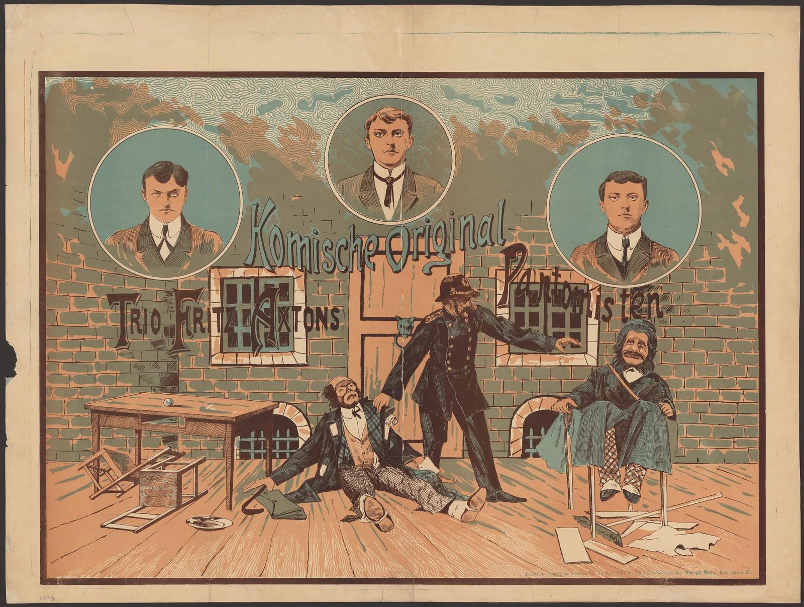 1905. Веселое оригинальное трио пантомистов Фрица Акстона