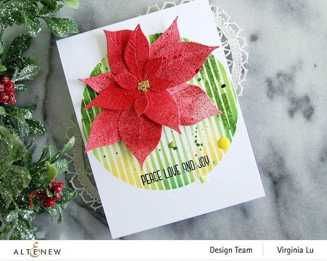 Altenew-SphereStencil-Poinsettia 3D Die-Holiday Flower Stamp Set-003