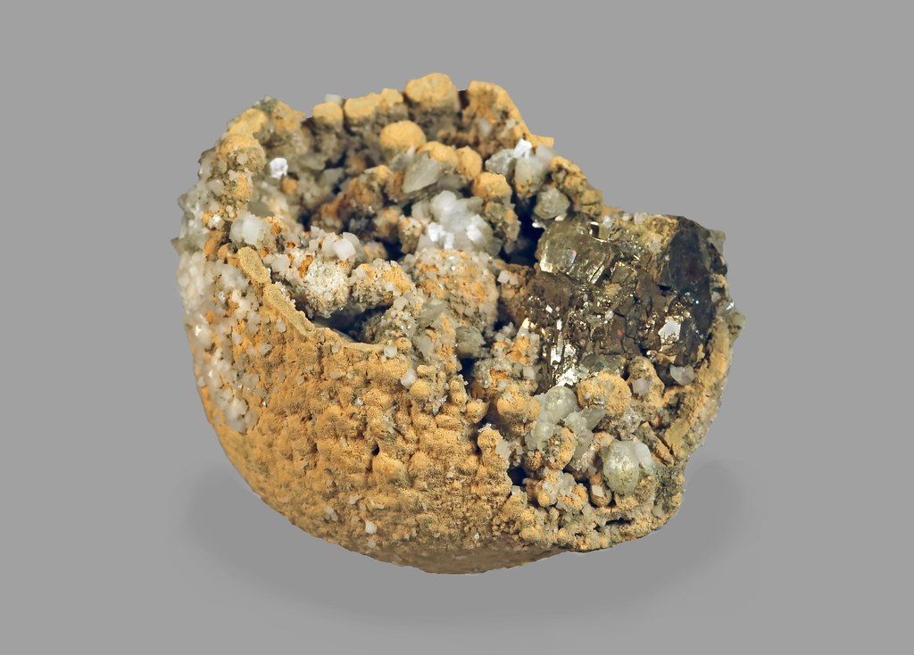 Siderite Ball with Calcite, Pyrite
