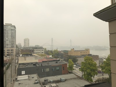 Smoke from Washington, Oregon, and California wildfires as seen in New Westminster, BC