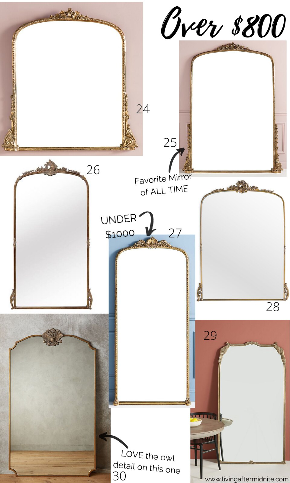 Currently Obsessed with Vintage Gold Mirrors | Antique Looking Mirrors over $800