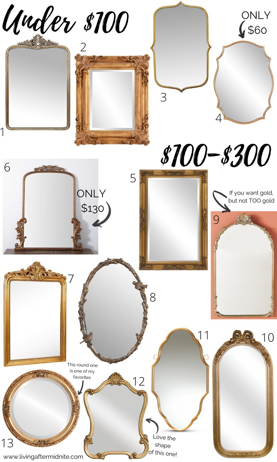 Currently Obsessed with Vintage Gold Mirrors | Affordable Antique Looking Mirrors from $100 to $300