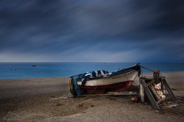 Amanece  con viento de levante, en Cabo de Gata