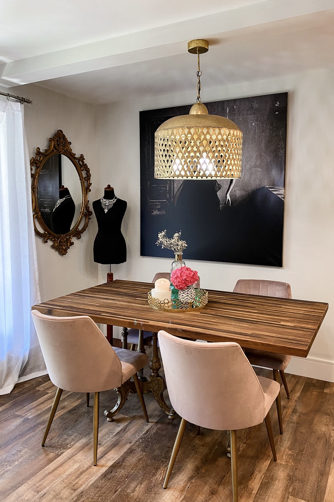 Feminine Romantic Dining Room | Apartment Dining Area | Vintage Gold Mirror | Gold Fan Shade Chandelier