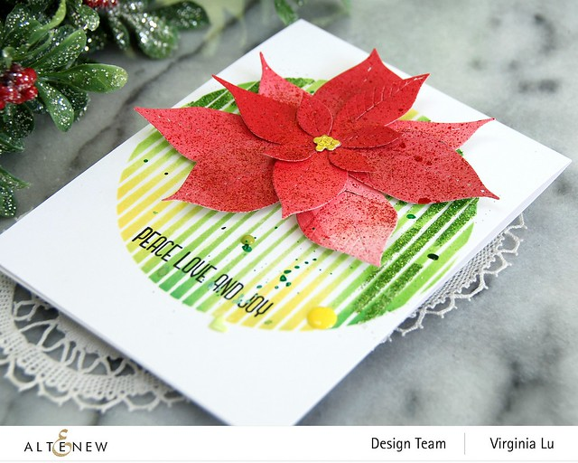 Altenew-SphereStencil-Poinsettia 3D Die-Holiday Flower Stamp Set-004