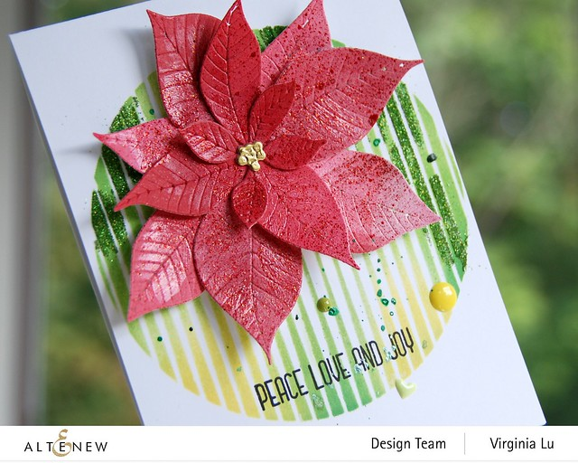 Altenew-SphereStencil-Poinsettia 3D Die-Holiday Flower Stamp Set-002