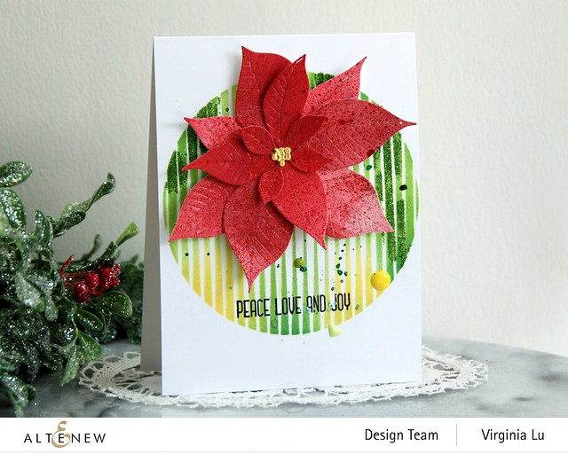 Altenew-SphereStencil-Poinsettia 3D Die-Holiday Flower Stamp Set