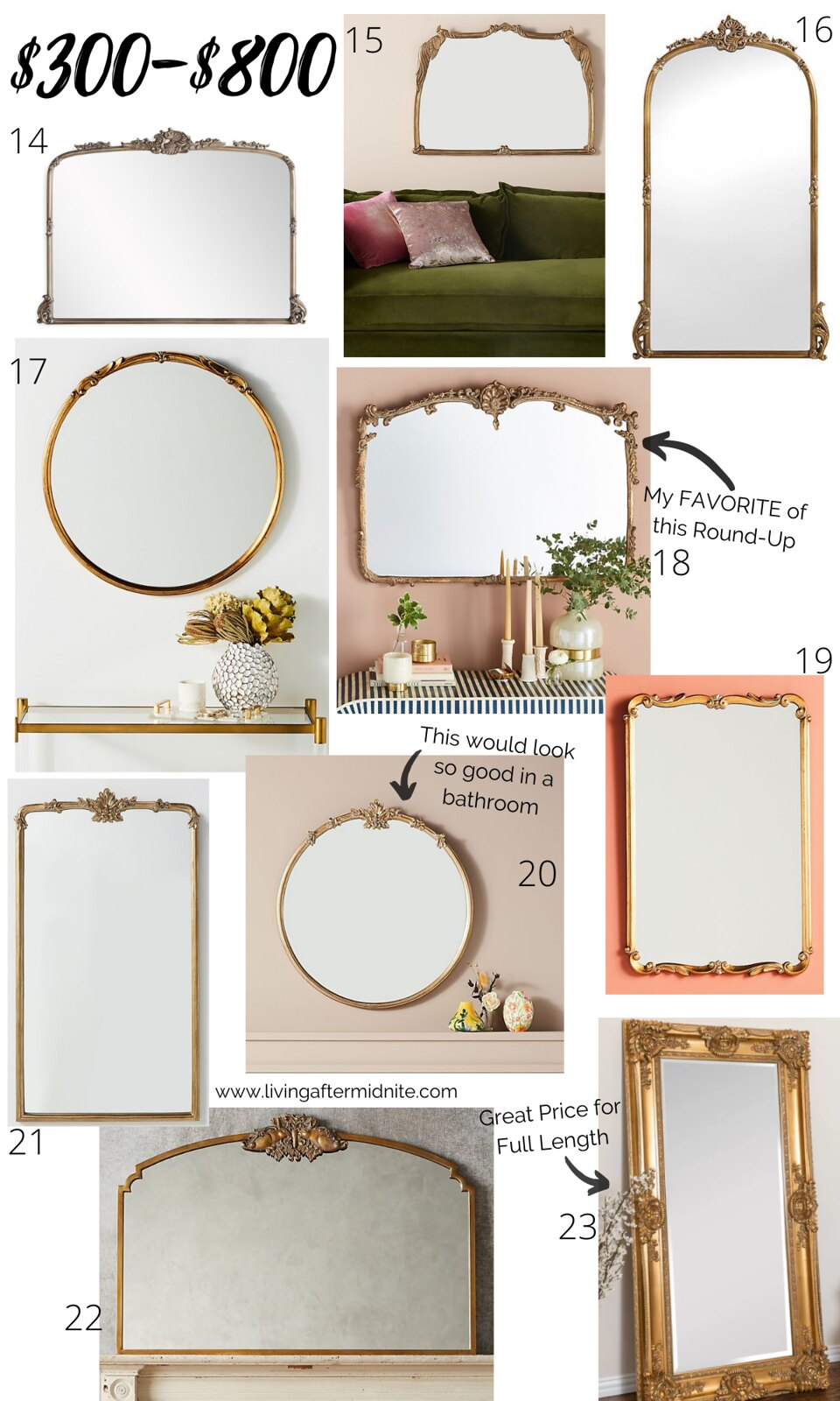 Currently Obsessed with Vintage Gold Mirrors | Antique Looking Mirrors from $300-800