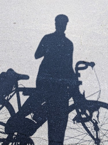 Cyclist shadow selfie | by robpegoraro