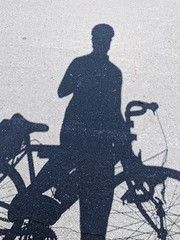 Cyclist shadow selfie