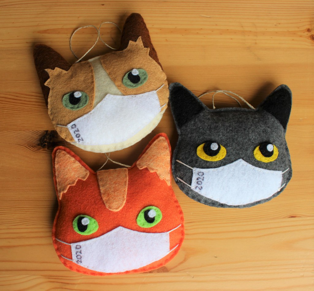 Hand Made Covid Cats Limited Edition Dated 2020 Ornaments
