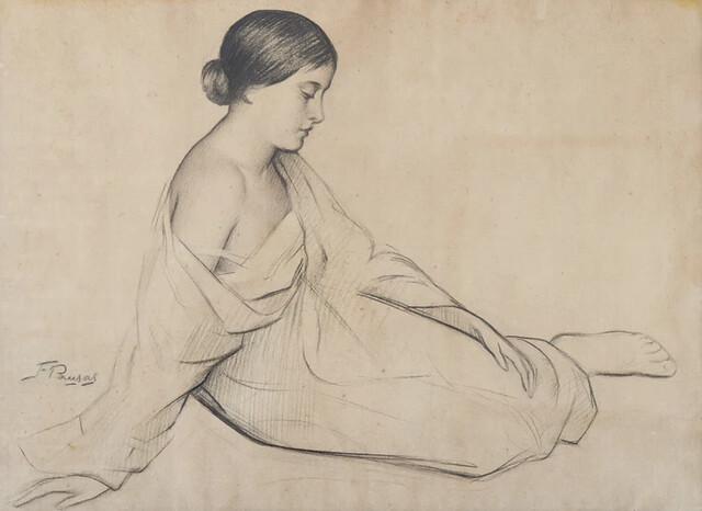 Framed Collotype Print of Girl sitting by Francesco Pausas!