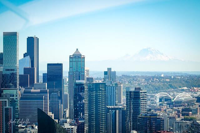 Downtown Seattle Skyline with Mount Rainier