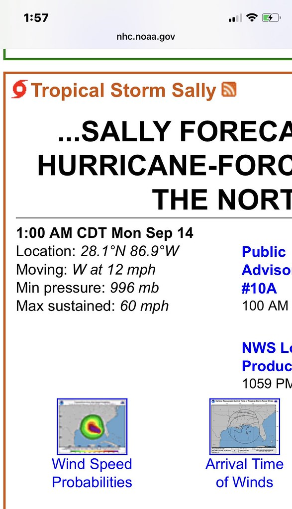 Sally Sudden Change in Speed and Direction - https://www.nhc.noaa.gov