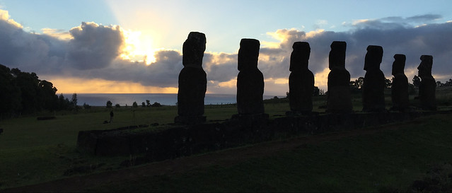 Sunset at the Ahu a Akivi, Rapa Nui (a.k.a. Easter Island), Chile, Polynesia, Oceania.