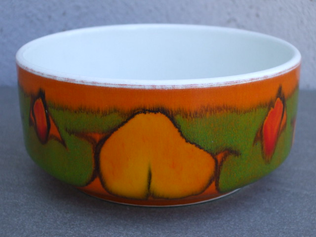 Vintage 1970's Poole Pottery Delphis Bowl Abstract Orange Green & Red Design