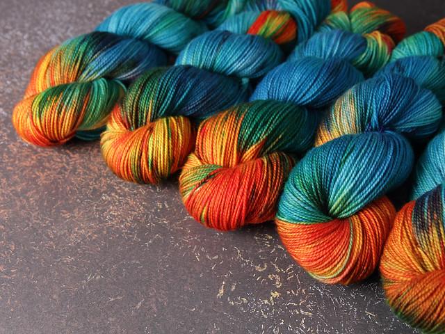 Favourite Sock – hand-dyed pure merino superwash wool 4 ply/sock yarn 100g – 'Kingfisher'