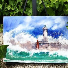 Watercolor Painting Light House
