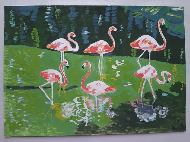 Pink flamingoes in the water painting