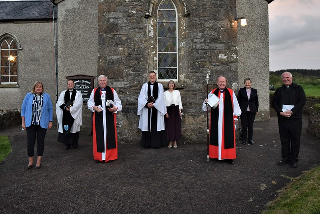 From left: the Revd Alison Calvin, the Ven Craig McCauley, Bishop David McClay, the Revd Capt Richard and Janette Waller, Bishop Ferran Glenfied, Canon Hazel Hicks, and Fr John McMahon.