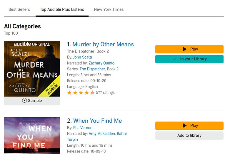 """A screenshot of """"Murder"""" on top of the """"Audible Plus Listens"""" chart."""