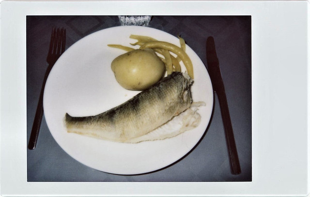 boiled perch, potatoe and yellow beans
