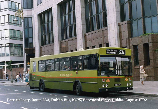 Route 53A, Bersford Place to North Wall, (Alexandra Road), Dublin Bus, KC75, August 1992