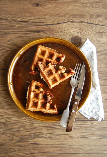 Waffles integrais sabor pizza / Pizza flavored whole wheat waffles