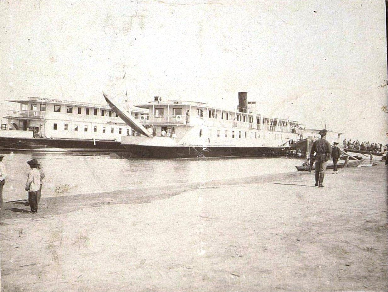 Пароходы у пристани. Г. Камень. 1918