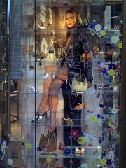 Jimmy Choo shop window display with Kate Moss, Bond St, London 2020