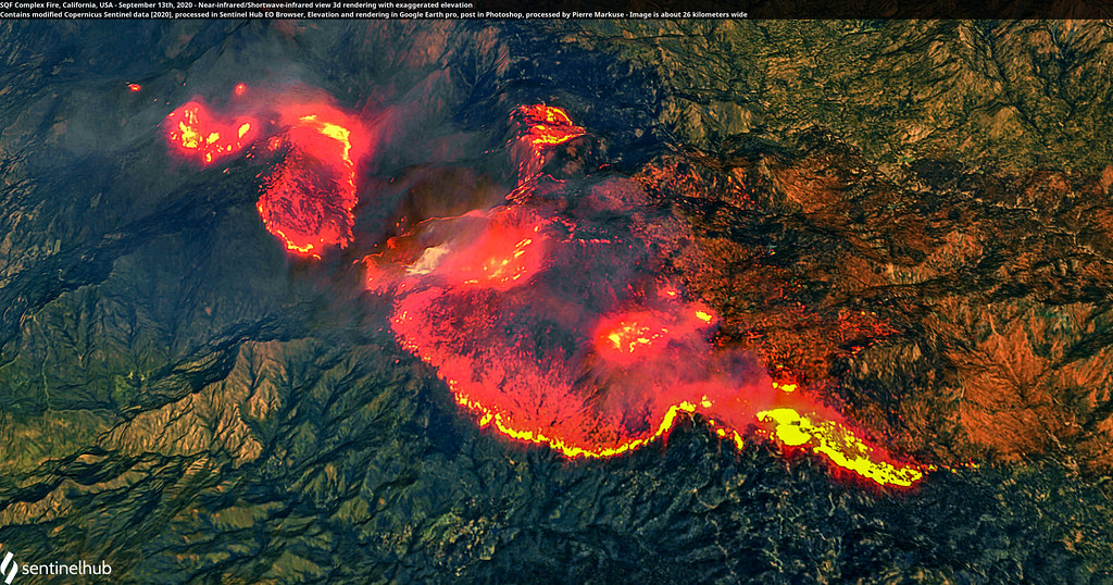 SQF Complex Fire, California, USA - September 13th, 2020 - Near-infrared/Shortwave-infrared view 3d rendering with exaggerated elevation