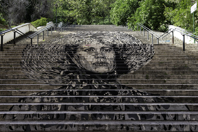 Urban Art by David Diavù Vecchiato, Scala Ugo Bassi, Rome