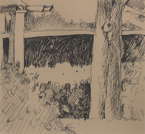 Autumnal Clematis along the Back Fence, ink