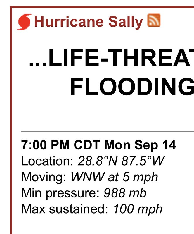 Hurricane Sally 100 mph