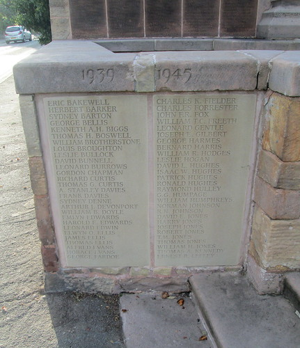 Hawarden War Memorial, Names for  1939-1945