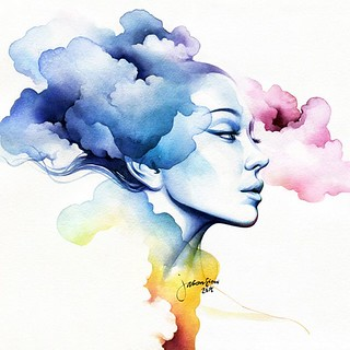 Colorful Watercolor Painting Woman