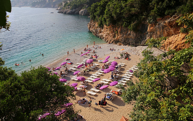 The beautiful Sveti Jakov Beach where the locals of Dubrovnik meet