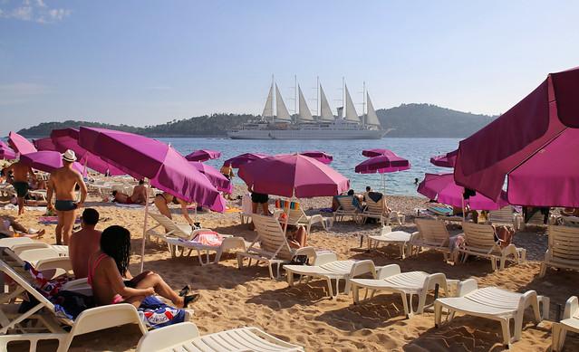 Sveti beach overlooking the Lokrum island and Wind Surf yacht