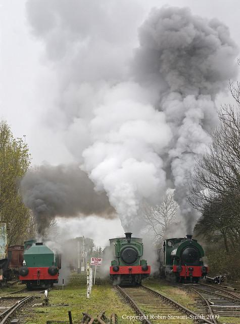 Rutland Railway Museum - Three in Steam in Cottesmore Yard on 11th November 2009