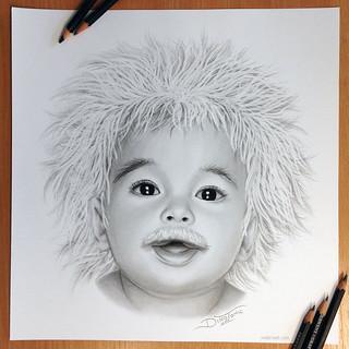 Pencil Drawing Albert Einstein Baby