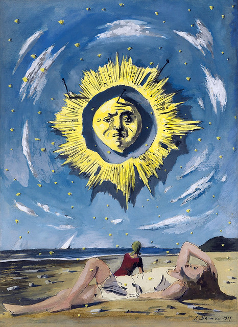 BERMAN, Eugene.  Girl on Beach under Radiant Sun. Cover for Town & Country magazine, Aug. 1937