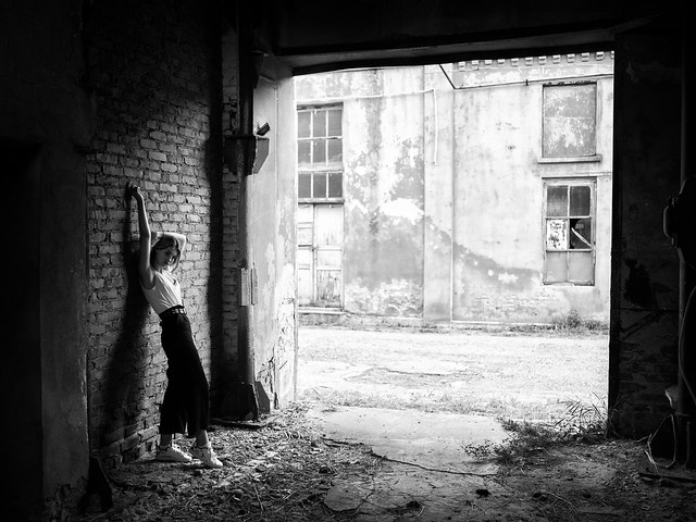 young girl portrait, abandoned city